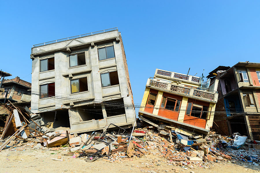 Commercial Earthquake Insurance - Business Buildings Falling